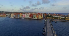 Aerial shot Willemstad Curacao. Stock Footage