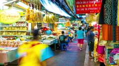 Timelapse view on a market in Bangkok - stock footage