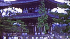 1951: Large Japanese sacred pagoda building rising tall. Stock Footage