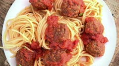 Spaghetti with Meatballs (seamless loopable; 4K) Stock Footage