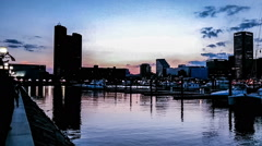 The panoramic view of Inner Harbor at evening, Baltimore Stock Footage