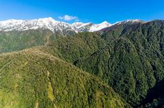 Aerial view of New Zealand mountains, wilderness landscape Stock Photos