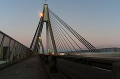 ANZAC bridge traffic at dusk Stock Photos