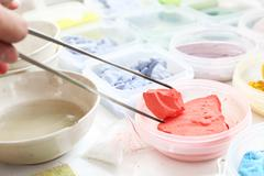 Workshop artistic, painting pigments - stock photo