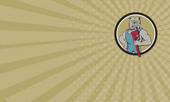 Business card Bulldog Plumber Monkey Wrench Circle Cartoon Stock Illustration