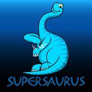 Supersaurus cute character dinosaurs - stock illustration