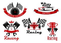 Auto racing sporting symbols with race cars Piirros