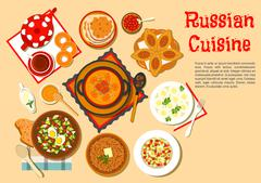 Popular main dishes and dessert of russian cuisine - stock illustration