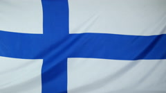 Finland Flag real fabric Close up 4K Stock Footage