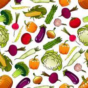 Healthy fresh seamless vegetables pattern - stock illustration