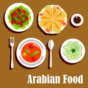 Arabian vegetarian lunch menu flat icon - stock illustration