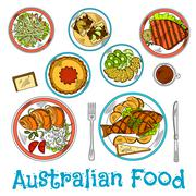Authentic dishes of australian cuisine sketch Stock Illustration