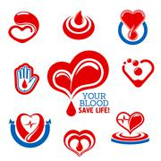 Blood donation icons for medical charity design - stock illustration