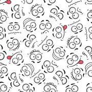 Funny comics faces seamless pattern background - stock illustration