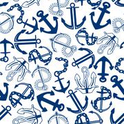 Blue anchors with chains, ropes seamless pattern Stock Illustration