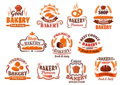 Bakery, pastry and cake shop symbols, retro style Piirros