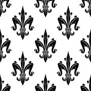 French victorian fleur-de-lis seamless pattern - stock illustration