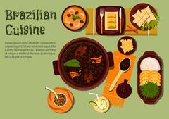 Brazilian dinner with feijoada stew flat icon - stock illustration