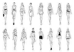 Fashion models shows everyday outfits sketch icons Piirros