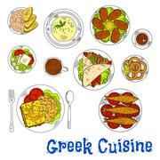 Grilled greek seafood dishes sketch drawing icon - stock illustration