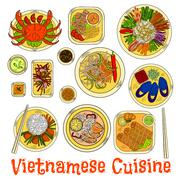 Spicy and refreshing vietnamese dinner sketch icon - stock illustration
