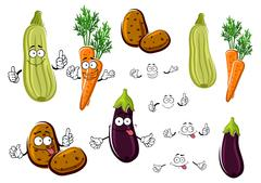 Cartoon eggplant, carrots, potatoes and zucchini - stock illustration