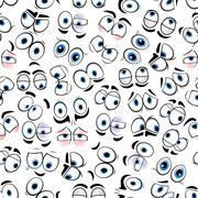 Comics googly eyes seamless pattern background - stock illustration