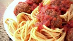 Spaghetti with Meatballs (not loopable; 4K) Stock Footage