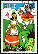 "Illustration to the fairy tale ""Sleeping Beauty"" on postage stamp - stock photo"