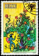 Prince before the castle - scene from a fairy tale on postage stamp - stock photo