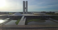 Brasilia aerial forward tilt up of Ministry Buildings Stock Footage