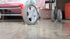 Wheels Of Baby Carriage Stock Footage