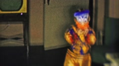 1957: Halloween costume dressing like Donald Duck plastic mask. Stock Footage