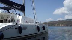 Istion Yachts' catamaran Idea! moored in Linaria, Greece Stock Footage