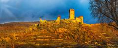 Burg Metternich against a dramatic sky. - stock photo