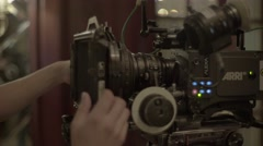 The lens installed in the camera before shooting the film Stock Footage