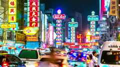 Timelapse view on Chinatown in Bangkok Stock Footage
