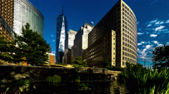 World Trade Center and modern buildings, New York, USA Stock Footage