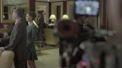 The camera shoots the film with the actors Stock Footage