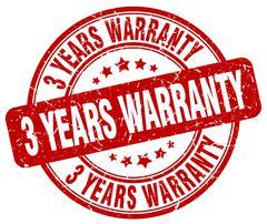 3 years warranty red grunge round vintage rubber stamp - stock illustration