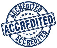 accredited blue grunge round vintage rubber stamp - stock illustration