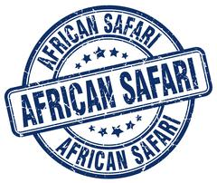 african safari blue grunge round vintage rubber stamp - stock illustration