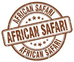 african safari brown grunge round vintage rubber stamp - stock illustration