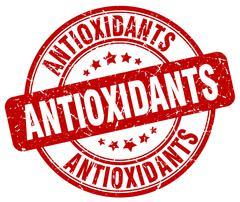Antioxidants red grunge round vintage rubber stamp Stock Illustration