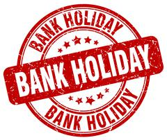 bank holiday red grunge round vintage rubber stamp - stock illustration