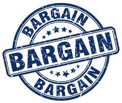 Bargain blue grunge round vintage rubber stamp Stock Illustration
