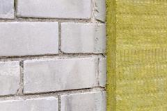 house exterior insualtion with mineral rock wool - stock photo