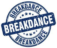 Breakdance blue grunge round vintage rubber stamp Stock Illustration