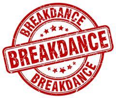 Breakdance red grunge round vintage rubber stamp Stock Illustration