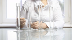 Tubes in the laboratory. chemical reactions Stock Footage